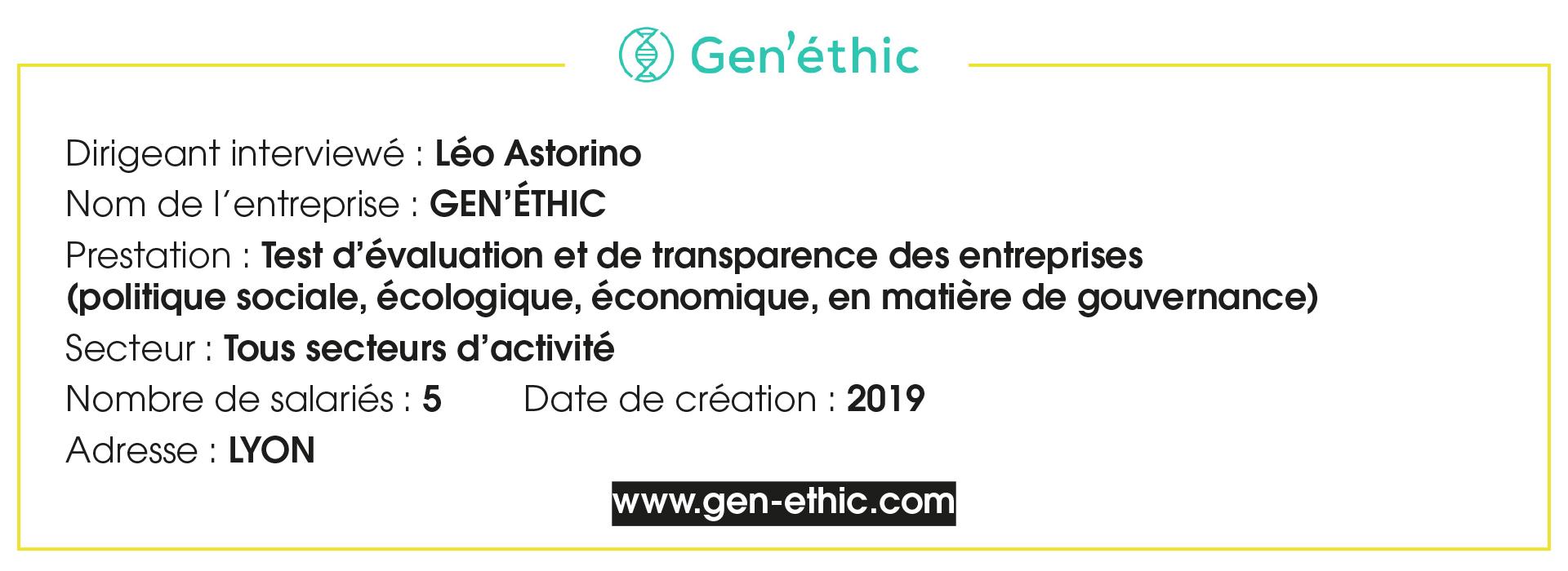 Fiche Entreprise Gen'éthic - Leo Estorino